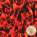 Red Flaming Skulls with Black Background