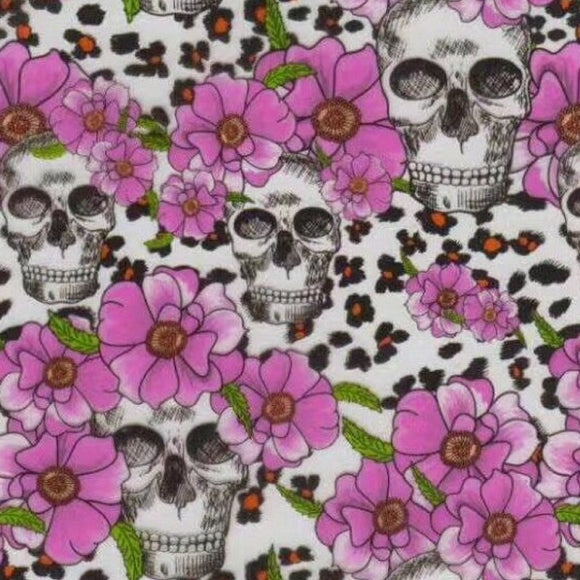 Pink Flower Cheetah Skulls
