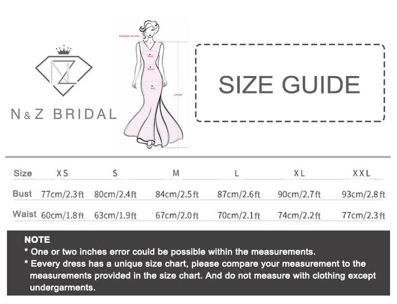 NZ Bridal FFN Evening Dress Size Chart