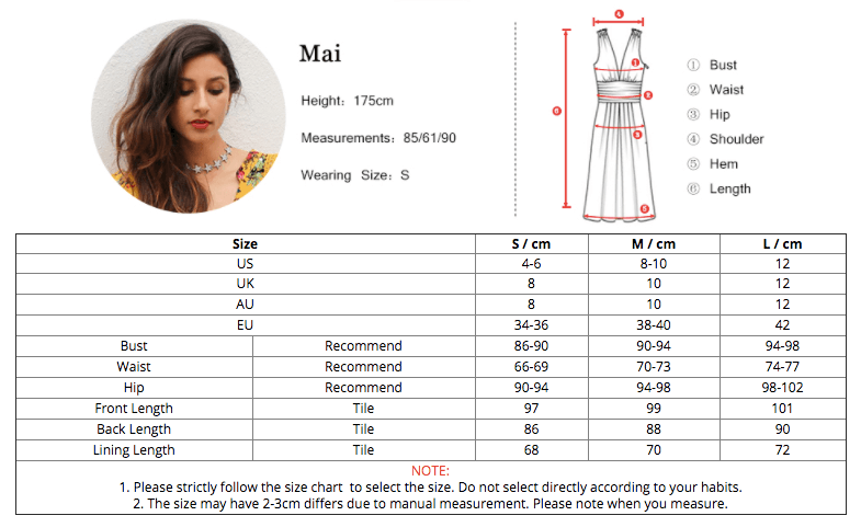 NZ Bridal SP Casual Dress Collection Size Chart