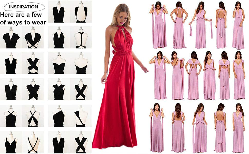 Convertible Wrap Multi Way Party Long Maxi Dress