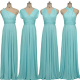 Baby Blue Wrap-around Convertible Beach Wedding Bridesmaid Dresses