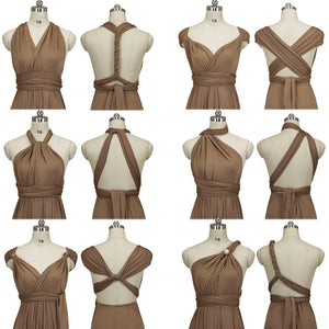 Brown Endless Ways Convertible Beach Wedding Bridesmaid Dresses