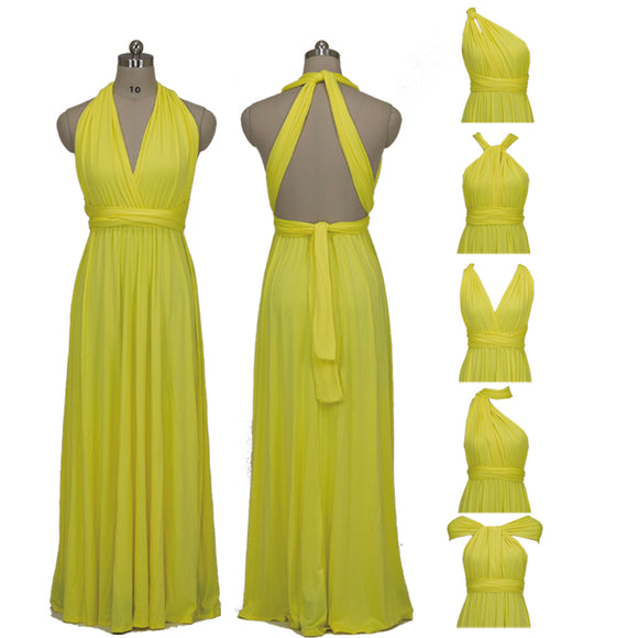 Yellow Infinity Convertible Beach Wedding Bridesmaid Dresses
