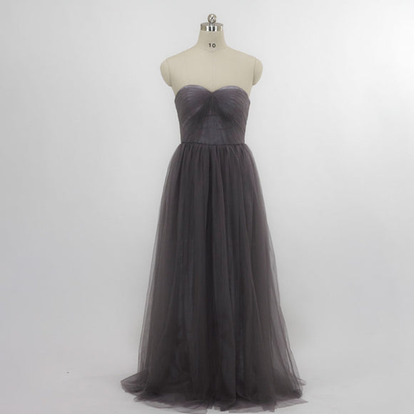 [Final Sale] Dark Grey Multi Way Soft Tulle Wedding Bridesmaid Dresses-Bella