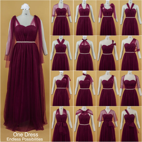 Custom-made Size/Color of Multi Way Convertible Bridesmaid Dresses-BELLA