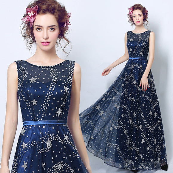 Fantastic Starry Sky Pattern Sleeveless Prom Gown