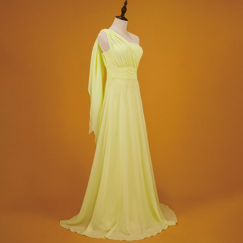 Yellow Multi Ways Wrap Convertible Bridesmaid Dress Strapless Chiffon A-line Gown For Bridesmaid Party-CHRIS