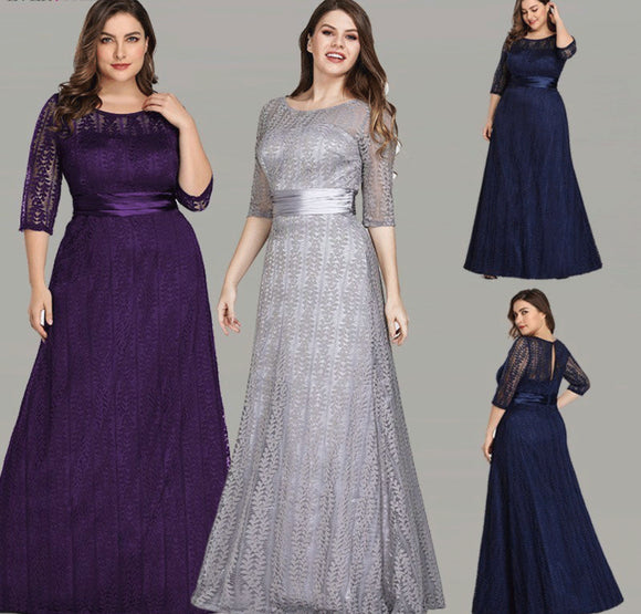 Plus Size Half Sleeves Illusion Lace and Mesh Bridesmaid Dress