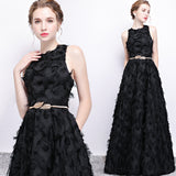 Black Tassels Fabric Metal WaistBand Morden Evening Wear