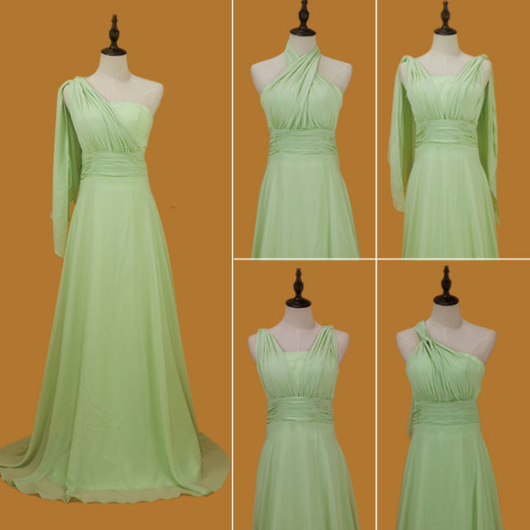 Light Green Convertible Multi Ways Wrap Sweetheart Chiffon Bridesmaid Dresses