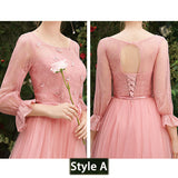 Dusty Rose Lace A-line Long Style Bridesmaid Dresses