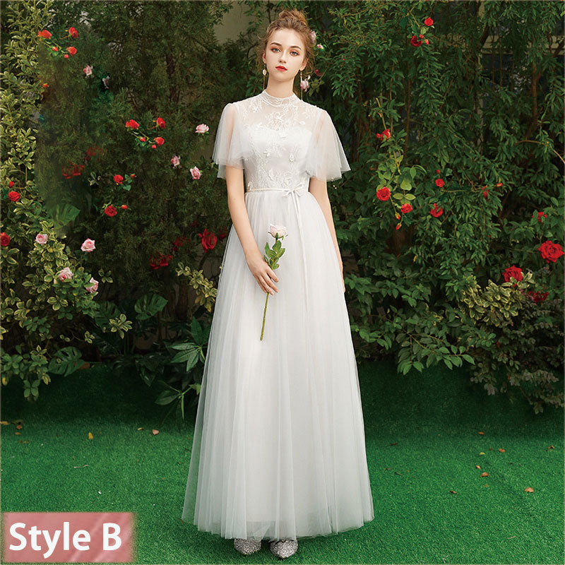 Silver Gray Lace A-line Long Style Bridesmaid Dresses