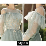 Illusion Neckline Applique Tulle A-line Bridesmaid  Dresses