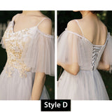 Silver Grey Illusion Neckline Applique Tulle A-line Bridesmaid  Dresses