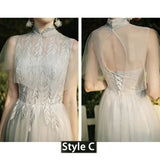 Silver Grey Illusion Neckline Leaves Applique Tulle A-line Bridesmaid Dresses