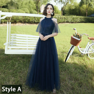 Navy Blue Illusion Neckline Leaves Applique Tulle A-line Bridesmaid Dresses