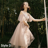 Pink Illusion Neckline Leaves Applique Tulle A-line Bridesmaid Dresses