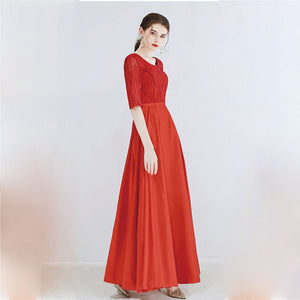 Scoop Neckline Half Sleeves Leaves Lace Bridesmaid Dresses