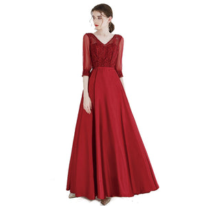 Burgundy Half Sleeves Long Bridesmaid Dress with Lace Bodice