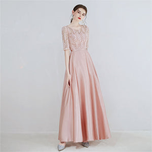 Pink Half Sleeves Long Bridesmaid Dress with Lace Bodice
