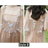 Brown Illusion Floral Applique Bodice Tulle Bridesmaid Dresses