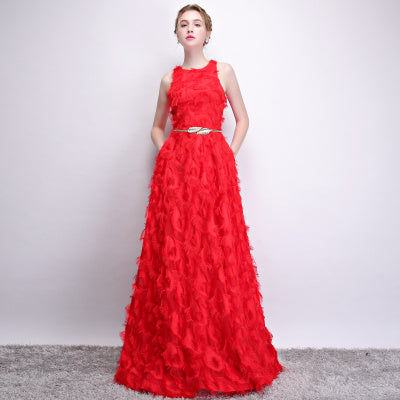 Red Tassels Metal WaistBand Morden Evening Wear