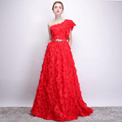 Red One Shoulder Ruffle Sleeves Morden Evening Wear
