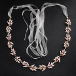 NZ Bridal Brides Waist Chain Metal Leaf Diamond Belt Wedding Dress Body Chain Bridal Accessories
