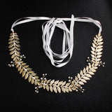 NZ Bridal Western Style Retro Pearl Sashes Golden Leaves Forest Fairy Ornaments Wedding Dress Waist chain