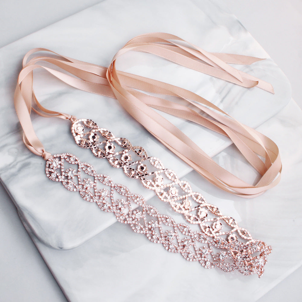 NZ Bridal Luxury Rhinestone Waist Chain For Wedding Dress Crystal Woven Belt