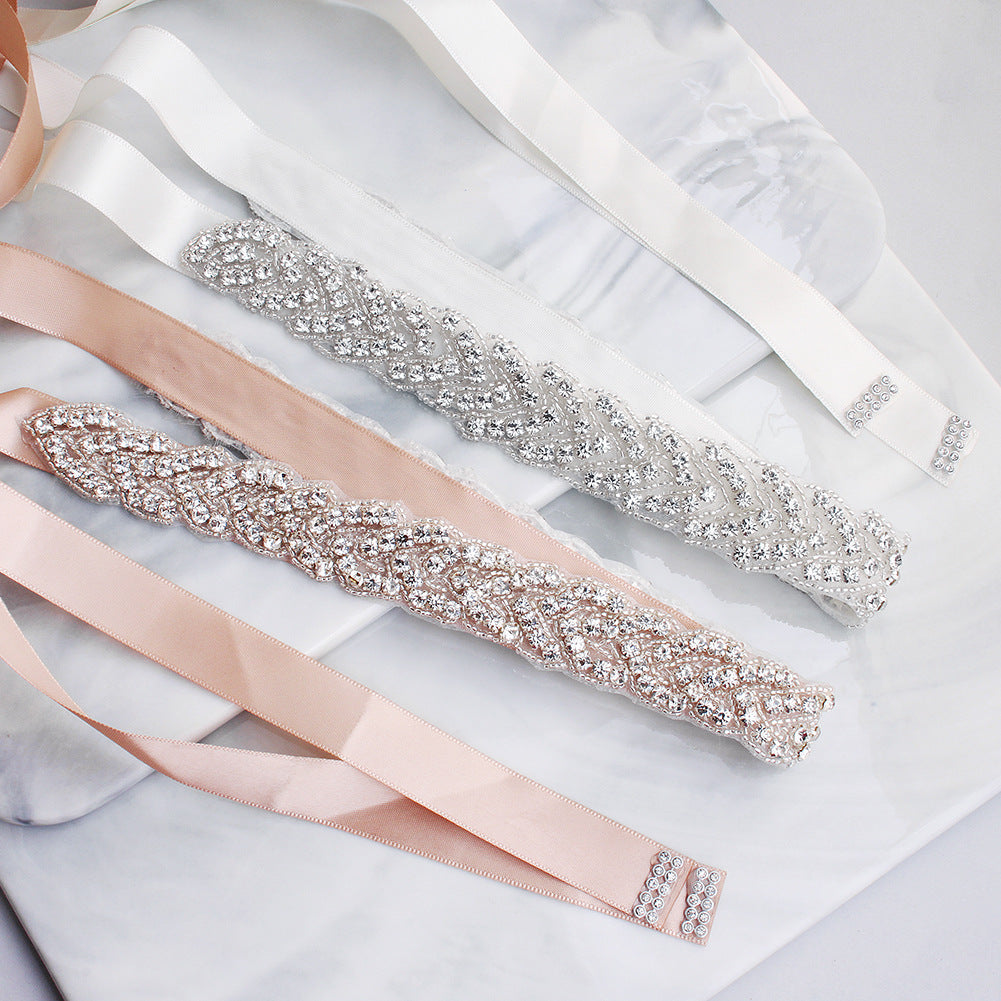 NZ Bridal Hand-studded Sashes Crystal Retro Diamond Wedding Dress Waist Chain Bridal Accessories