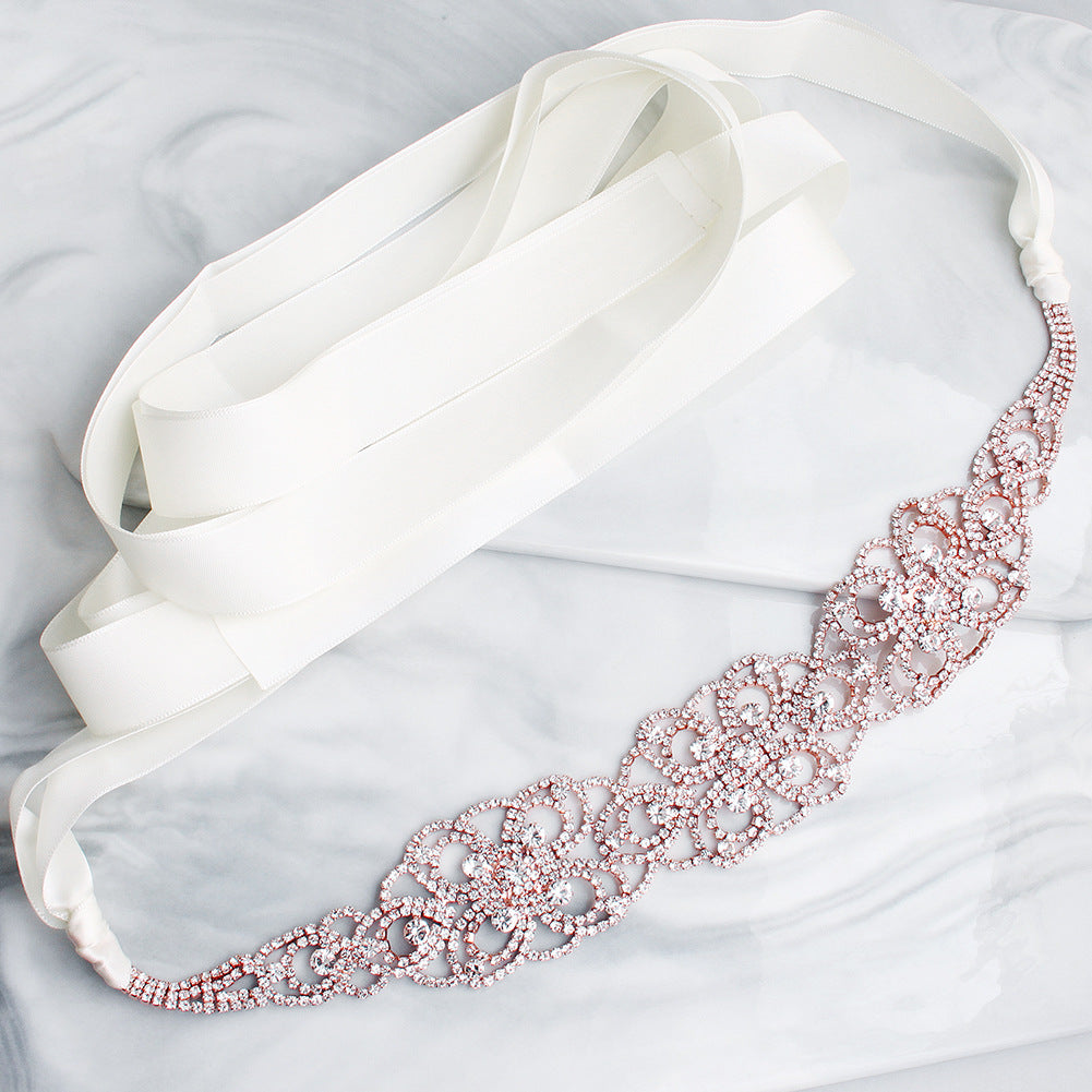 Hand-studded Alloy Waist Chain Rhinestone Retro Wedding Dress Sashes Accessories