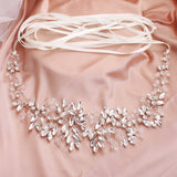 NZ Bridal Grace Sashes Handmade Rhinestone Leaf  Waist Chain Evening Dress Crystal Belt