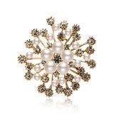 NZ Bridal Elegant Snowflake Imitation Pearls Rhinestones Crystal Wedding Brooch Pin Jewelry Accessorise