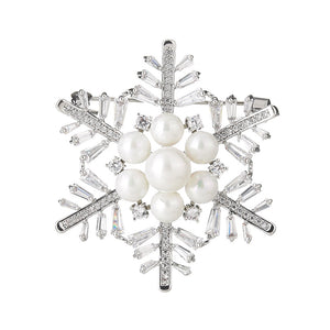 NZ Bridal Snowflake Alloy Zine Wedding Brooch With Imitation Pearl Jewelry Accessories