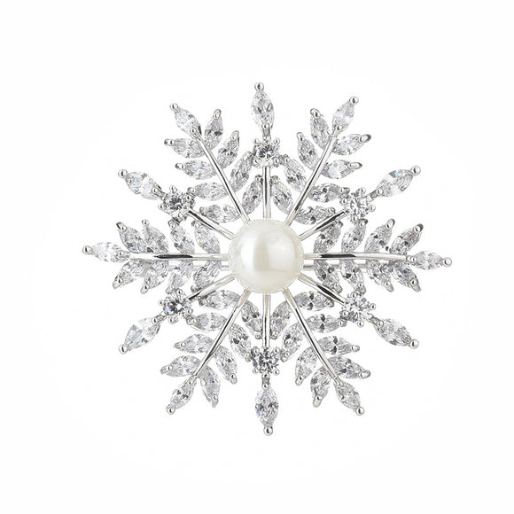 NZ bridal Luxury Retro Snowflake Brooch For Female Zircon Mosaic Imitation Pearl Pin