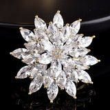 NZ Bridal Luxury Vintage Alloy Floral Wedding Brooch For Female Zircon Mosaic Pin