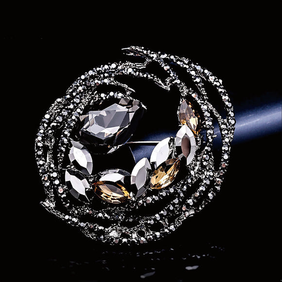 NZ Bridal Charming Artificial Crystal Rhinestones Personality Geometric Round Brooch Wedding Brooch Pin Jewelry