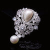 NZ Bridal Court-style Vintage Alloy Imitation Pearls Wedding Brooch With Zirconite Rhinestones