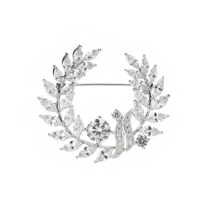 NZ Bridla Bauhinia Alloy Rhinestone Brooches Bouquet Crystal Pin For Women Wedding