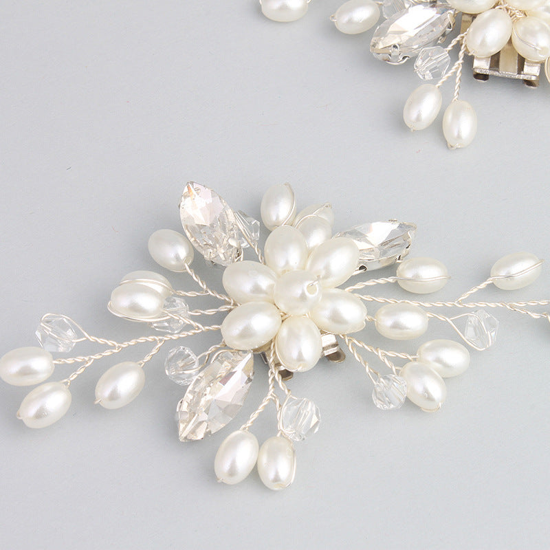 NZ Bridal 1 Pair Detachable Shoe Clip Imitation Pearl Rhinestone Wedding Shoes Buckle Accessories