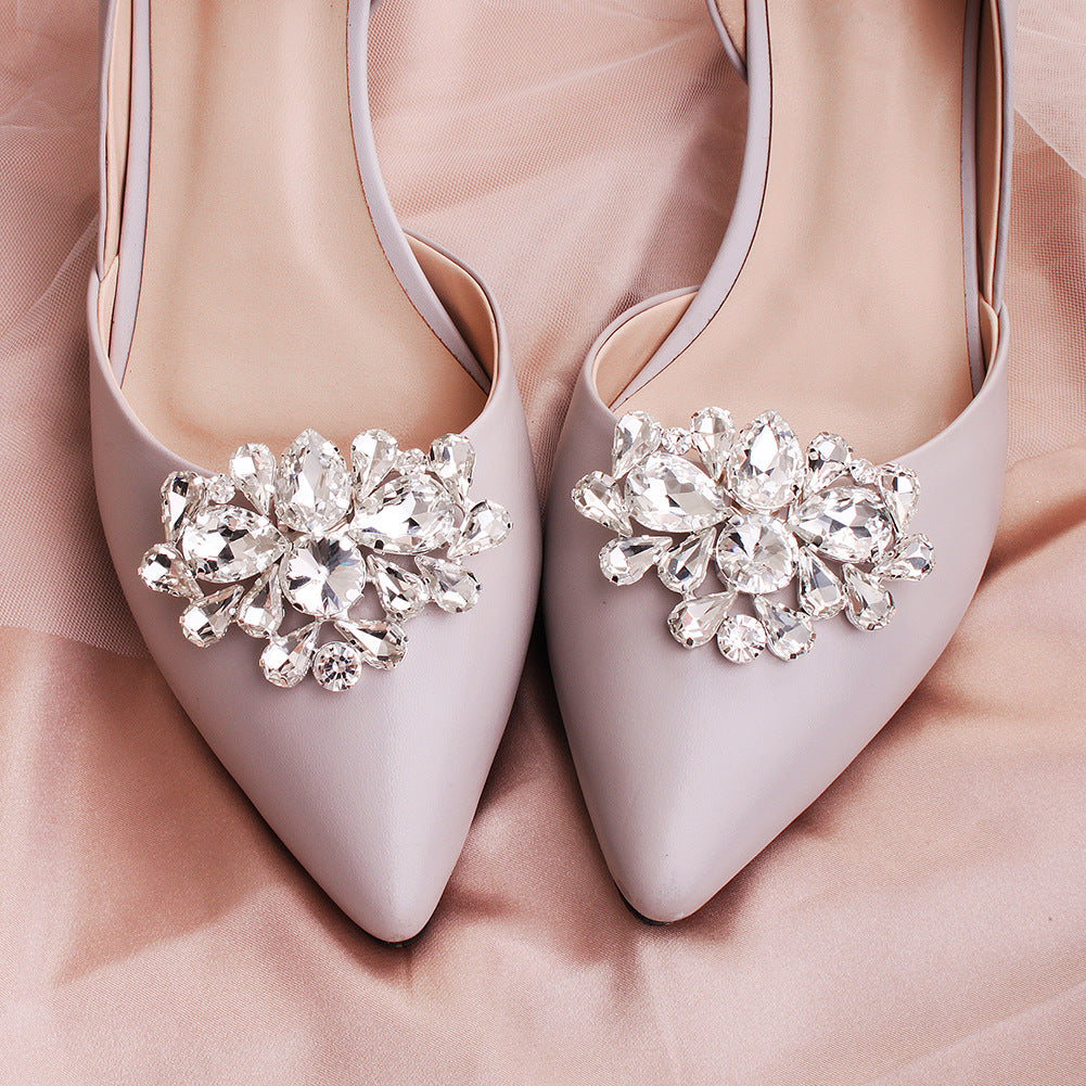 1 Pair DIY Glass Rhinestone Wedding Shoes Buckle