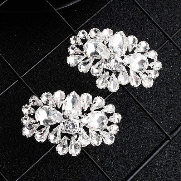 NZ Bridal 1 Pair Detachable Oval Rhinestone Shoe Clip Wedding Shoes Buckle Accessories