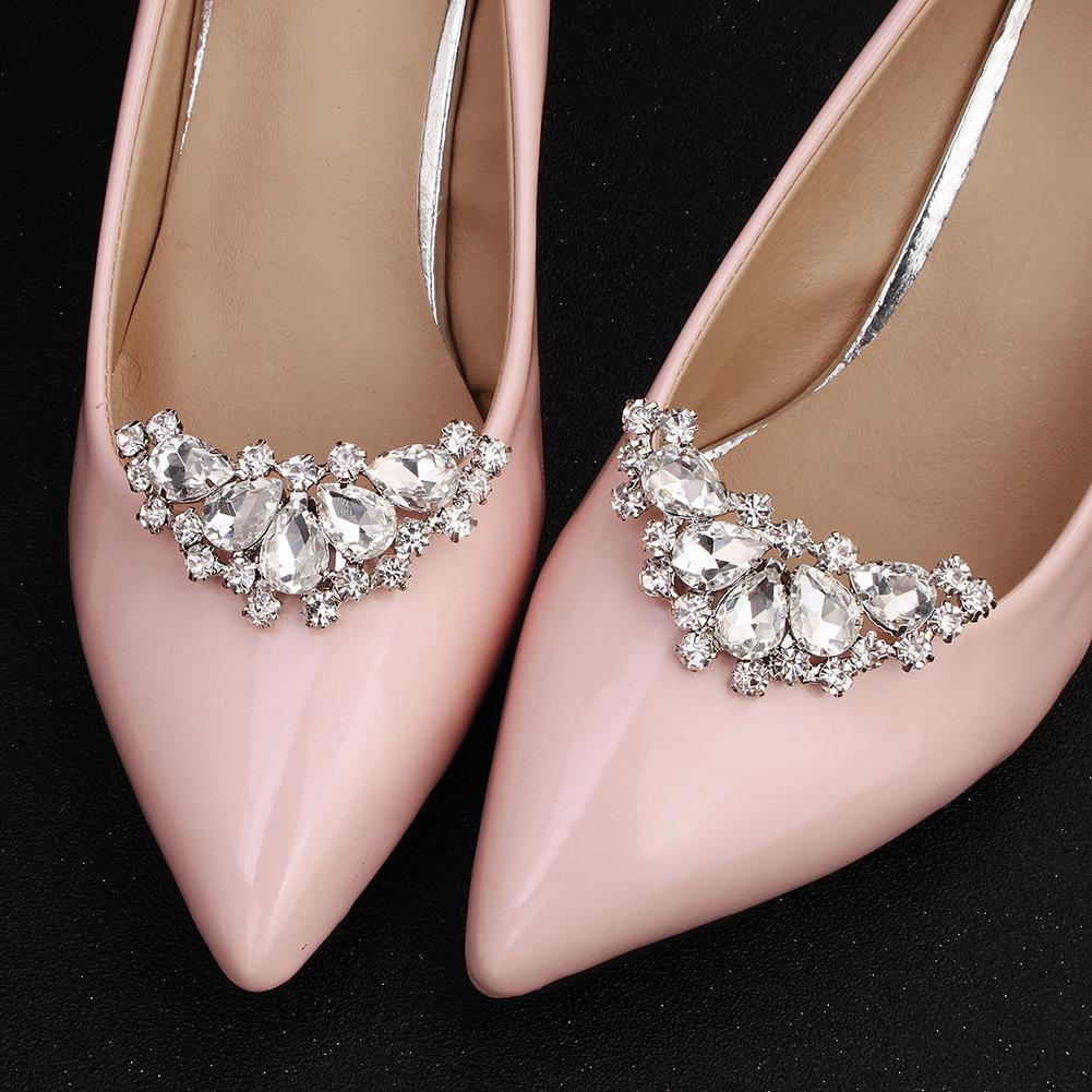 NZ Bridal 1 Pair Rhinestones Shoe Buckles Elegant Bride Wedding Shoes Buckle Flower Jewelry