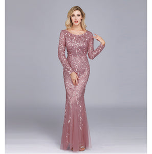 Dusty Rose Plus Size Sequined Lace Mermaid Evening Dress-Ratih
