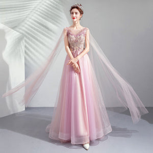 Blush Elegant Cape-sleeved A-line Formal gown