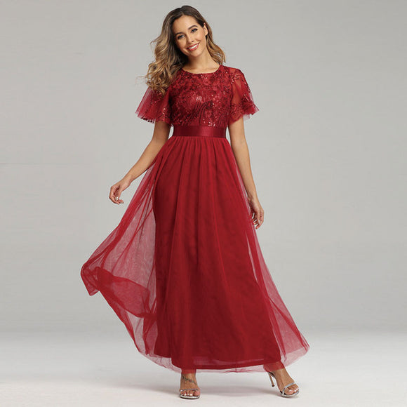 Short Sleeved Tulle Sequins Bridesmaid Dress in Burgundy Wine-Kailyn