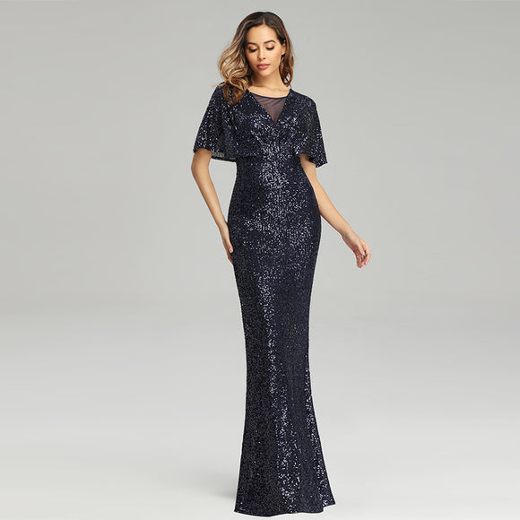 Batwing Sleeved Sequins Formal Gown in Navy Blue-Joanna