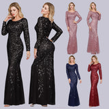 Black Plus Size Sequined Lace Mermaid Evening Dress-Ratih